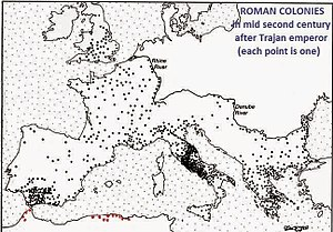 "Demography of the Roman Empire - Map showing the ""roman coloniae"" in the second century, after Trajan. Note the concentration in Italia (Italy), Gallia (France) and Hispania (Spain)"