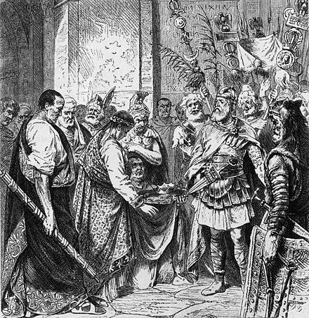 Romulus Augustus resigns the Crown (from a 19th-century illustration). Romulus Augustulus and Odoacer.jpg