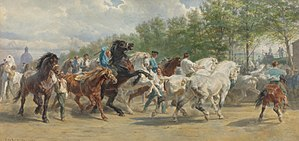 The Horse Fair - Watercolour from 1867; sold at Sotheby's in 2007