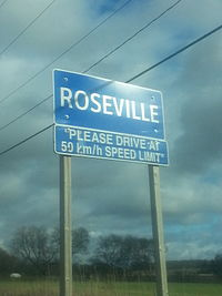 Town sign in Roseville, Ontario