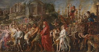 Triumphs of Caesar (Mantegna) - Rubens, c 1630: A Roman Triumph, National Gallery, London