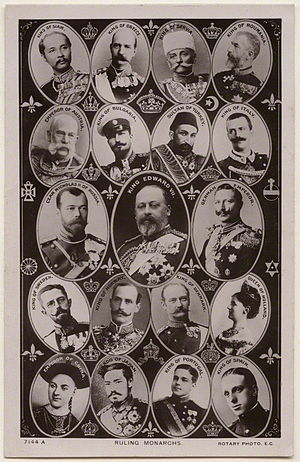 Abolition of monarchy - 1908 postcard depicting nineteen reigning monarchs; twelve of their thrones were abolished during the twentieth century, although the Spanish monarchy was later restored.