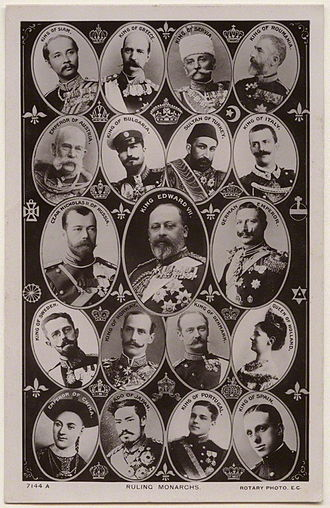 Monarch - Postcard from 1908 showing nineteen of the world's reigning monarchs: (left to right) King Rama V/Chulalongkorn of Siam, King George I of Greece, King Peter I of Serbia, King Carol I of Romania, Emperor Franz Joseph of Austria-Hungary, Tzar Ferdinand I of Bulgaria, Sultan Abdul Hamid II of the Ottoman Empire, King Victor Emmanuel III of Italy, Emperor Nicholas II of the Russia, King Edward VII of Britain, Emperor Wilhelm II of Germany, King Gustav V of Sweden, King Haakon VII of Norway, King Frederick VIII of Denmark, Queen Wilhelmina of the Netherlands, Guangxu Emperor of China, Meiji Emperor of Japan, King Manuel II of Portugal and King Alfonso XIII of Spain.