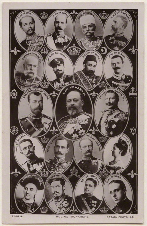 Postcard from 1908 showing nineteen of the world's reigning monarchs: (left to right) King Rama V/Chulalongkorn of Siam, King George I of Greece, King Peter I of Serbia, King Carol I of Romania, Emperor Franz Joseph of Austria-Hungary, Tzar Ferdinand I of Bulgaria, Sultan Abdul Hamid II of the Ottoman Empire, King Victor Emmanuel III of Italy, Emperor Nicholas II of the Russia, King Edward VII of Britain, Emperor Wilhelm II of Germany, King Gustav V of Sweden, King Haakon VII of Norway, King Frederick VIII of Denmark, Queen Wilhelmina of the Netherlands, Guangxu Emperor of China, Meiji Emperor of Japan, King Manuel II of Portugal and King Alfonso XIII of Spain. Ruling-monarchs.jpg