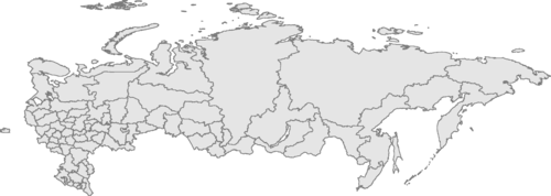Map of Russia and its subdivisions with several cities highlighted: Saint Petersburg, Moscow, Samara, Tomsk, Novosibirsk, Krasnoyarsk, Khabarovsk, and Vladivostok.