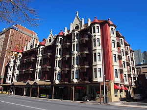 Pulteney Street, Adelaide - Ruthven Mansions, an apartment building on 21 Pulteney Street, built in 1911.