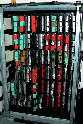 IBM Solid Logic Technology - An SLT card frame. Image from corestore.org.