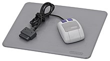 A mouse for the Super Nintendo console.