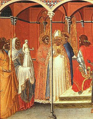 Sabinus of Spoleto - Saint Sabinus before Venustian, preaching the gospel. Pietro Lorenzetti.