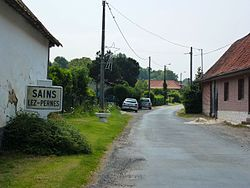 Sains-lès-Pernes (Pas-de-Calais, Fr) city limit sign.JPG