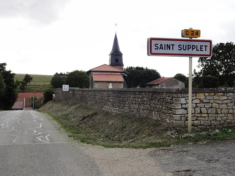 Saint-Supplet (Meurthe-et-M.) city limit sign et église