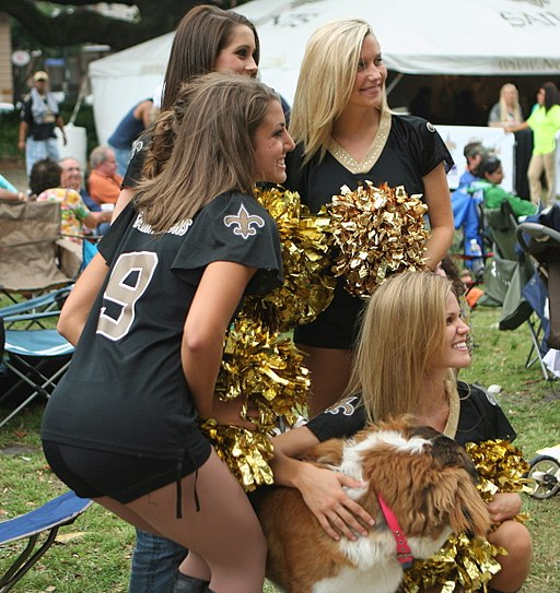 Saints Cheerleaders with Saint Bernard