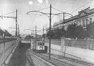 Line A (Buenos Aires Underground) - Tram leaving the underground and continuing above ground in Caballito (1913).
