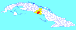 Sancti Spíritus municipality (red) within Sancti Spíritus Province (yellow) and Cuba