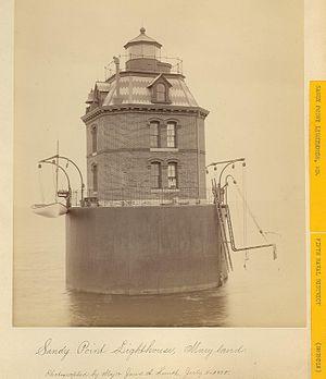 Sandy Point Shoal Light - 1885 photograph of Sandy Point Light (USCG)