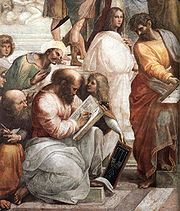 Pythagoras, the man in the center with the book, teaching music, in The School of Athens by Raphael