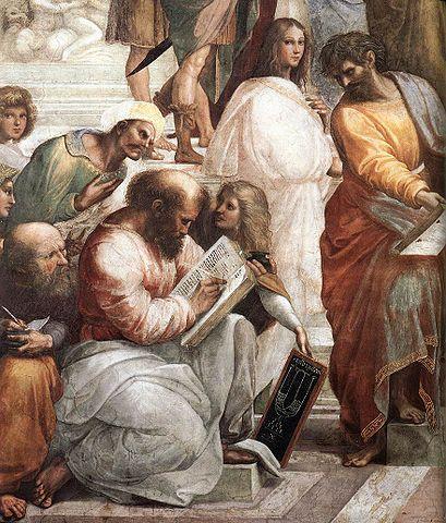 Боэций (крайний слева, подглядывающий в записи пишущего Пифагора) на Рафаэлевой фреске «Афинская школа»