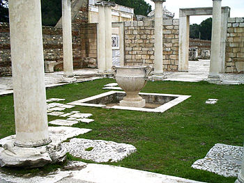 Sardis synagogue courtyard. Remains of the Sar...