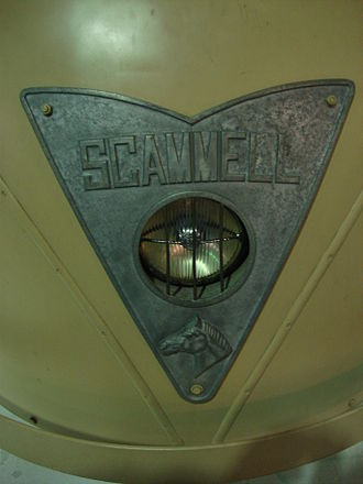 Scammell Scarab - Close-up of nameplate and single headlight