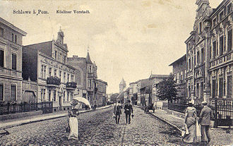 Sławno - Koszalińska Street.Postcard from 1912