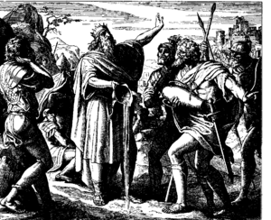 David's Mighty Warriors - Woodcut of David pouring out the water, by Julius Schnorr von Carolsfeld, 1860.