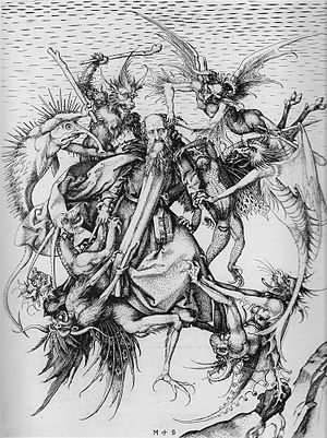 The Torment of Saint Anthony (Michelangelo) - Image: Schongauer, Martin St Antonius hi res