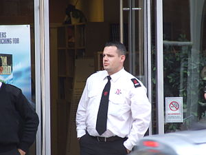 English: Security guard outside Manchester Sci...