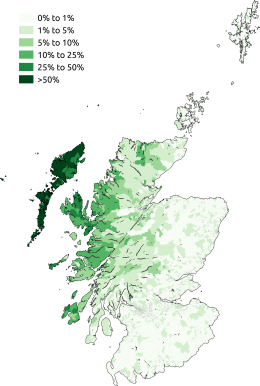 A map of Scots Gaelic speakers – CC BY-SA 3.0. By Skate Tier
