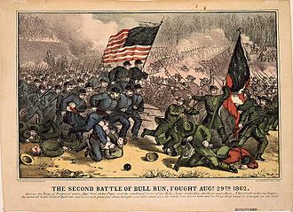 Second Battle of Bull Run - Second Battle of Bull Run, fought Augt. 29th 1862, 1860s lithograph by Currier and Ives
