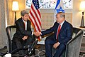 Secretary Kerry Shakes Hands With Israeli Prime Minister Netanyahu Before Their Meeting in New York City (21901948001).jpg