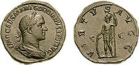 Retrach de Gordian II sus una pèça de moneda