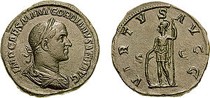 Gordian II - Gordian II on a coin, celebrating his military prowess