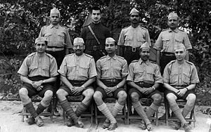 Seva Dal - Nehru in uniform with Seva Dal Volunteers in Allahabad