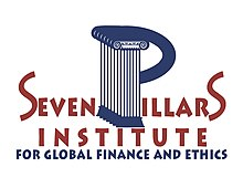 "Seven Pillars Institute Logo that displays the title of the respective institution ""Seven Pillars Institute for Global Finance and Ethics."" The 'p' in pillars is stylised to look like it is seven pillars."