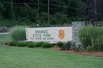 Shawnee State Park (Ohio) - Image: Shawnee State Park Golf Marina Entrance July 2007