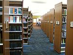 Book shelves at the newly renovated library.