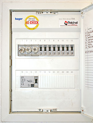 Fuse box with fuses, circuit breaker and resid...