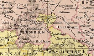 Dhalbhum - Singhbhum district in a 1909 map of The Imperial Gazetteer of India