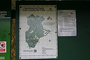 English: Ski trails at Clashindarroch Forest.