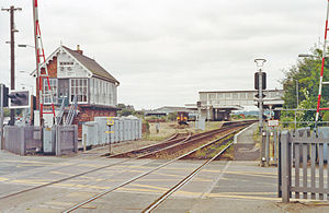 Sleaford railway station - View from the level crossing