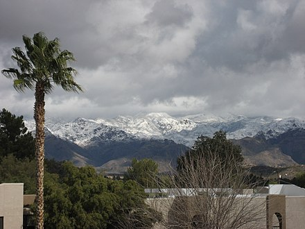 Santa Catalina Mountains in winter, viewed from the Catalina Foothills Snowy Catalinas.jpg