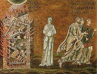 La distruzione di Sodoma (mosaico del XII secolo)