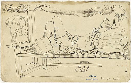 Soldier lying on a bed, drawing by Searle. Art.IWMART15746A1