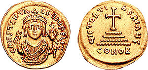 Justinian (general) - Gold solidus of Emperor Tiberius II (r. 574–582). Despite his repeated plotting to overthrow him, the emperor pardoned Justinian.
