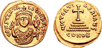Tiberius II Constantine - Solidus of Tiberius II Constantine in consular uniform.