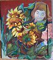 Sonnenblumen mit Gesichtern, Margret Hofheinz-Döring, Öl, 1970 (WV-Nr.4890).JPG