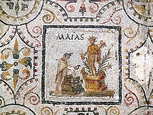 Maius - May is represented by the veneration of Mercury on this panel from a Roman mosaic of the months (from El Djem, Tunisia, first half of 3rd century AD)