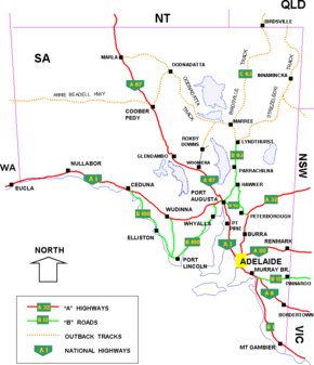 south australian cities towns settlements and road network