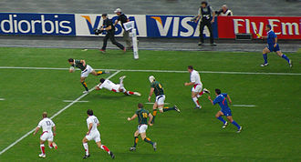 England at the Rugby World Cup - England playing against South Africa in the 2007 World Cup.