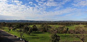 Adelaide Hills - A view across the southern parklands to the Adelaide Hills from South Terrace, Adelaide